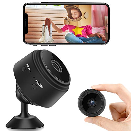 Mini Spy Camera with Audio, WiFi Wireless Hidden Mini Camera 1080P HD Home Security Cams with Cell Phone App Recording, Portable Tiny Nanny Cam with IR Night Vision&Built-in Battery for Indoor Outdoor