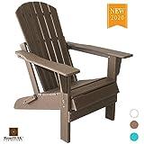 ResinTEAK HDPE Poly Lumber Folding Adirondack Chair, Brown Teak | Adult-Size, Weather Resistant for Patio Deck Garden, Backyard & Lawn Furniture | Easy Maintenance & Classic Adirondack Chair Design