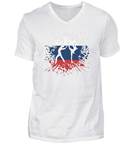 Camiseta de manga corta con cuello de pico para hombre de Rusia