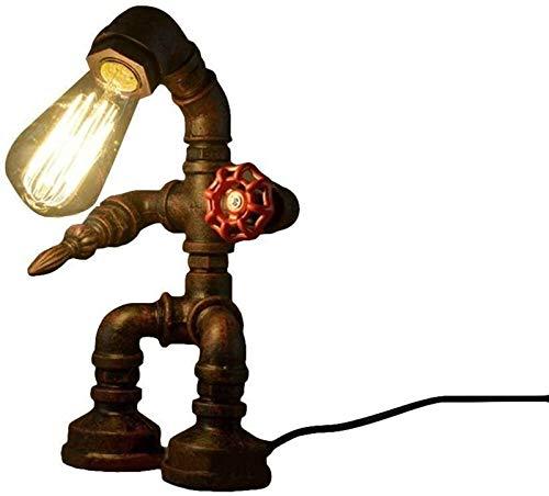 HGDD Lámpara de Piso Tabla del Escritorio de la Vendimia de la lámpara, la Pipa de Agua del Robot Mesa de iluminación Motent Industrial Steampunk Retro, Antiguo Moho del Hierro luz del Escritorio