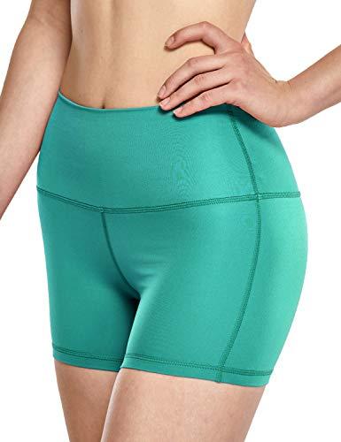 CRZ YOGA Pantalones Cortos Deportivos para Mujer,Running Pantalones Cortos de Yoga con Bolsillo - 10cm Verde Azulado 46