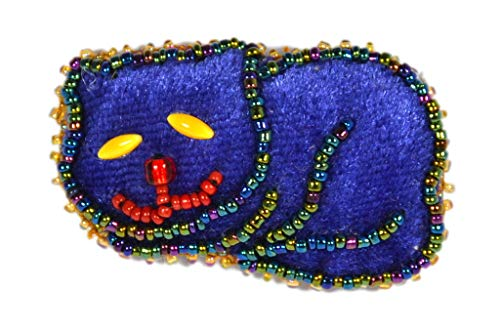 Broche terciopelo pequeño gato tumbado LILA–Bijou Fantasía