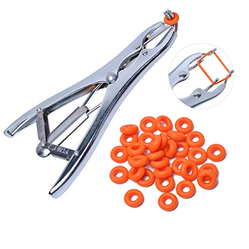 Wadoy Castration Bander & 100Pcs Castrator Rings, Balloon Expander Tool Pliers
