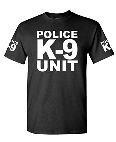 K-9 Unit Police - Law Enforcement Duty k9 - Cotton T-Shirt, L, Black USA Made