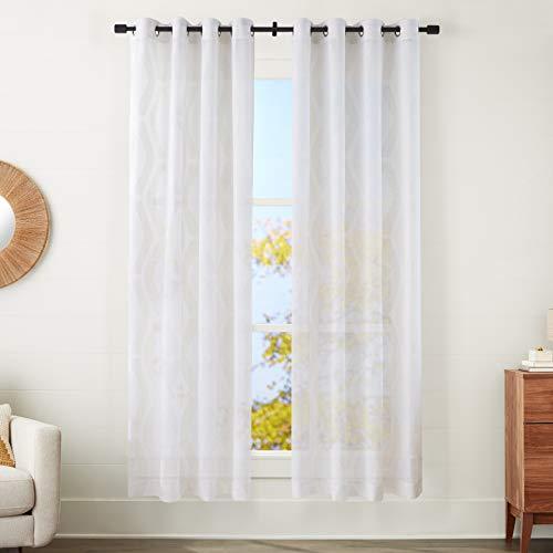 "Amazon Basics Sheer Window Panel Pair with Grommets - 50"" x 95"", Modern Linen-Look Geo Linen and Ivory"