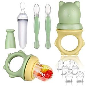 Lictin Alimentador de Fruta para Bebé-11 PCS Chupete Fruta Bebe Cuchara Biberon Bebe sin BPA Cuchara Dispensadora de Comida Alimentador Bebe Alimentador Antiahogo Bebe para Frutas,Verduras y Carnes