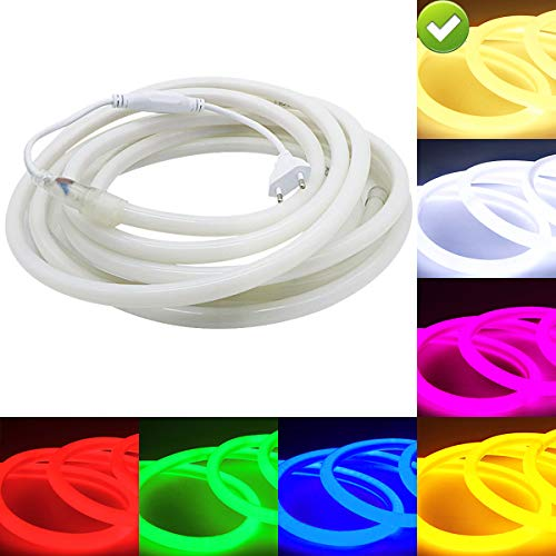 VAWAR m Neon touwstrip rond, 360 ° luminescerende warmwit, LED flexibele strip zonder lichtpunten, 220V heldere 2835 LED-band, IP65 waterdicht voor tuin party bruiloft decoratie