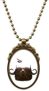 Men Women Beards Eyebrows Eyes Antique Necklace Vintage Bead Pendant Keychain