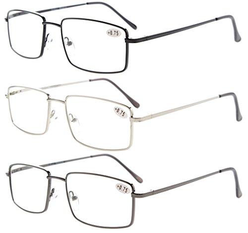 3-Pack Eyekepper Readers Rectangular Spring Temple +2.00 Reader Eyeglasses for Men Reading Large Metal Reading Glasses