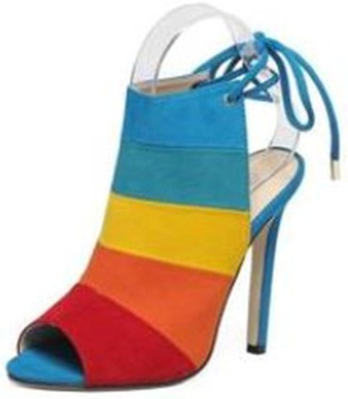 pink town Women Fashion Multi-Coloured Check Rainbow Platform Stiletto shoes