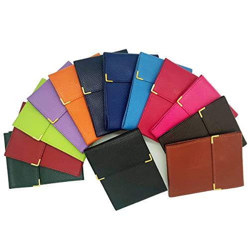 Charmoni® Marvin - Porta libretto degli assegni pieghevole, talloncino a sinistra, 3 scomparti per carte di credito, 3 strati, compatto, in vacchetta, 10,5 x 14,5 cm