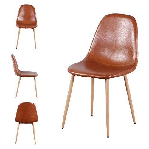 MeillAcc Juego de 4 sillas escandinavas marrón sillas de comedor sillas de salón sillas de niños