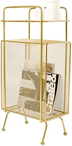 Rack Schmiedeeisen Stock Speicher Bücherregal Schlafzimmer Nacht Wohnzimmer Sandwich Multi-Layer-Magazin Regal (Farbe   Gold, Größe   34  20  70cm)