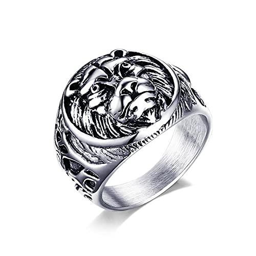 Regalo de la joyería del anillo del punk rock de los hombres de la cabeza del león de la vendimia del acero inoxidable para él 9 plata