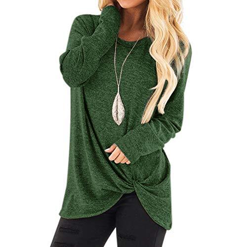 Chejarity Camiseta básica de manga larga para mujer, de un solo color, para otoño e invierno, elegante, para correr verde M