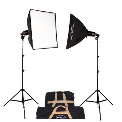 Britek#240SK Professional Photography strobe lighting kit with 2 Fluorescent Light Holder+2 Slave Flash Head+2 Softobx+2 Compact Light Stand+2 Carrying Bag