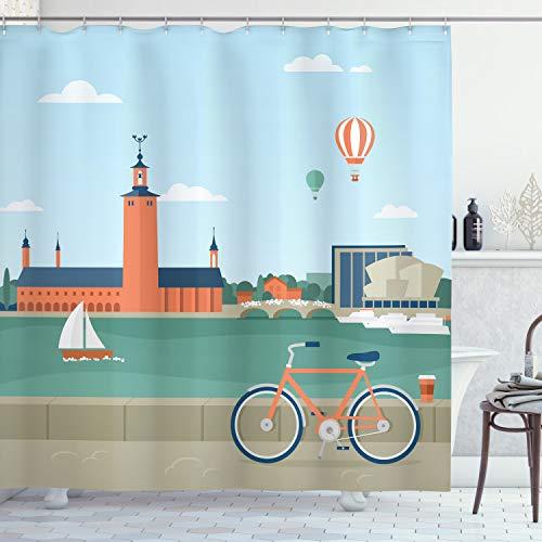 ABAKUHAUS Stadt Duschvorhang, Stockholm Schweden Fahrrad, Wasser Blickdicht inkl.12 Ringe Langhaltig Bakterie & Schimmel Resistent, 175 x 180 cm, Teal Blau