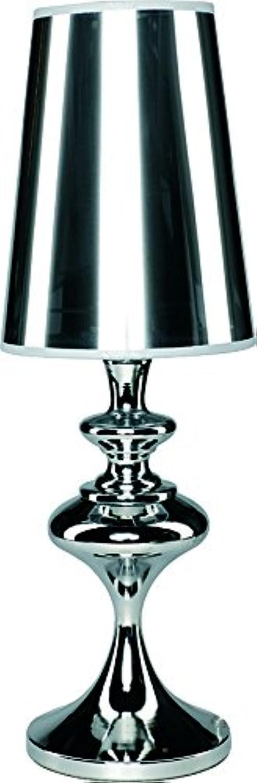 Tischlampe modern, silber, Metall, E27, ALASKA, leuchtenladen, Tischleuchte Leselampe Nachttischlampe