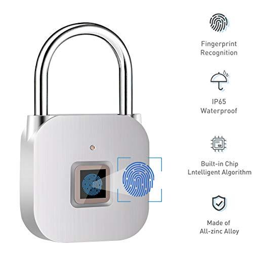 Vorhängeschloss mit Fingerabdruck, schlüssellos, für Schließfächer, Sport, Schule & Mitarbeiter, Koffer, kein APP Smart Lock