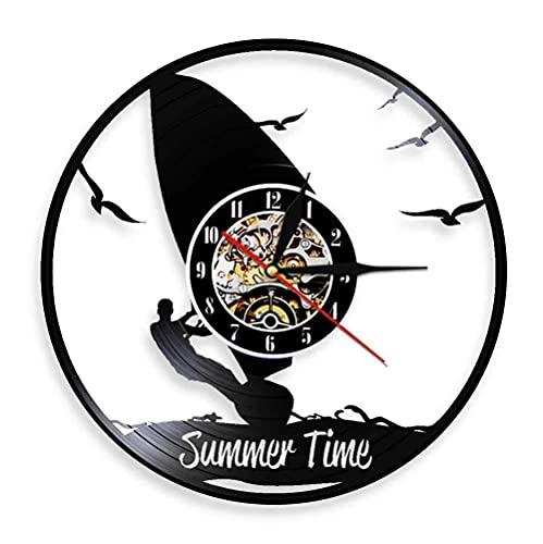 Nzlazbc Reloj de Pared con Disco de Vinilo Wind-Surfer, decoración Moderna para el hogar, Reloj silencioso con retroiluminación LED, decoración de Pared, decoración Interior para Sala de Estar Fresca