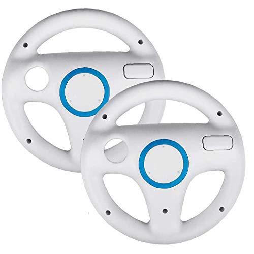 LAANCOO Pack 2 Direction Costume Roues pour Mario Kart Wii, Mario Kart Costume pour Racing Wheel Ajustement pour Nintendo Wii (Blanc) pour des usages Multiples en Plein air intérieur