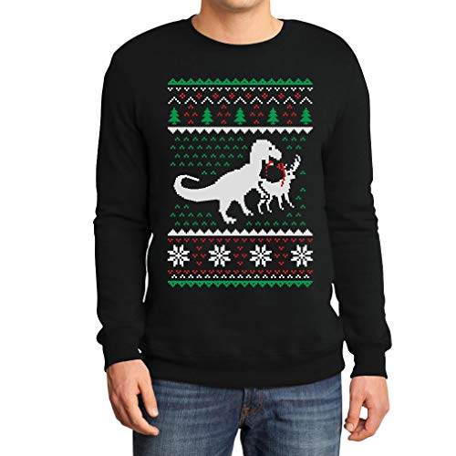 Weihnachten Lustiges Motiv T-Rex Vs Rentier Geschenk Sweatshirt XX-Large Schwarz