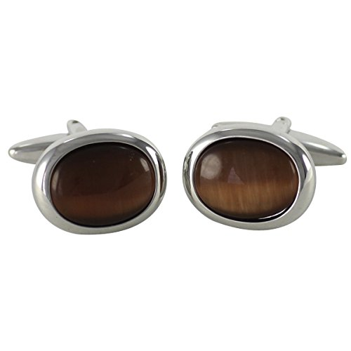 Lindenmann Cufflinks/Cuff Buttons, Silvery with Cats-Eye Brown, Gift Box, 10451