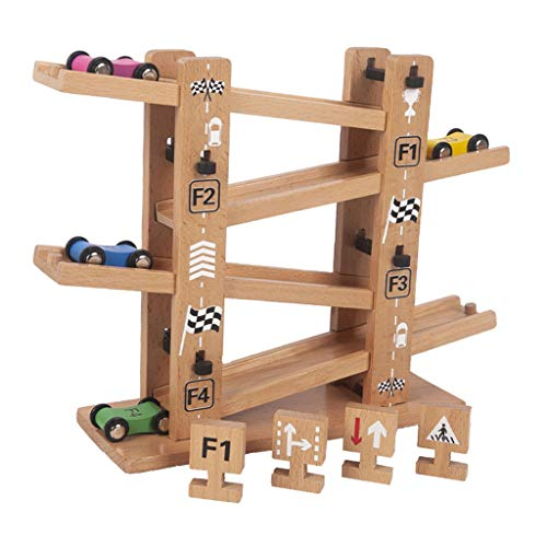 Colcolo Pista de Carreras Car Ramp Racer 4 Cars Gliding Car Toy Zig Zags Car Ramp Toy