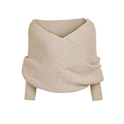 TTD Winter warme einfarbige gestrickte Wickelschal häkeln dicken Schal Cape mit Ärmel für Frauen