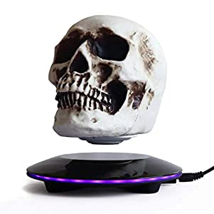 KINGLEV Magnetic Levitating Levitate 3D Skull LED Night Light with Touch Button Base,Floating and Rotating Globe Decoration Creative Crafts Statues for Home/Office/Festival Decor