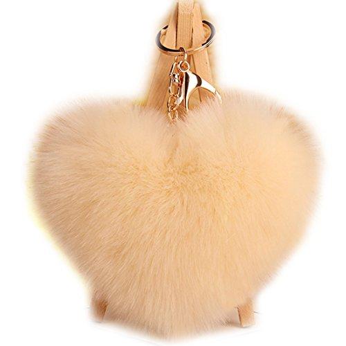 URSFUR Schlüsselanhänger aus kunstfertig Fellbommel Bommel Geburtstagsgeschenk Taschenanhänger Herz Kugel Handyanhänger - Beige