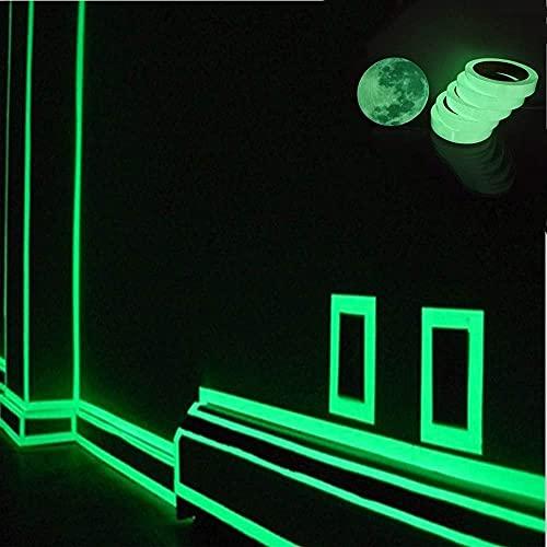 QGANG Cinta autoadhesiva Que Brilla en la Oscuridad de 10 Metros, Pegatina de Pared de Tira Luminosa Familiar, Pegatina de Cinta Luminosa Segura para luz Verde (5Meter)