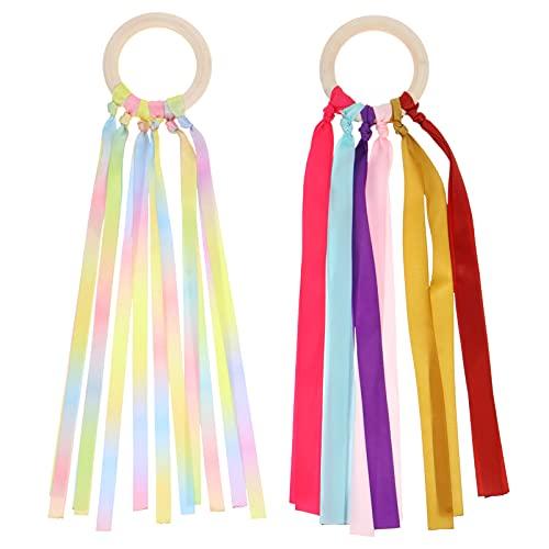 Toddmomy 2 Piezas de Cometas de Mano de Arco Cinta de Cintas de Muñeca de Camino de Varita con Anillo de Madera para Favores de Fiesta de Cumpleaños