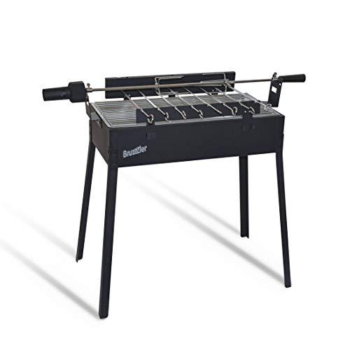 Bruzzzler Barbacoa mangal con asador, uso como barbacoa de carbón, para pinchos de carne, verdura y asador para un pollo entero, motor a pilas