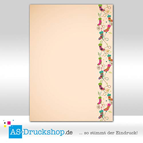 Designpapier Kerstmis - sokken / 25 vellen/DIN A4 / 90 g offsetpapier