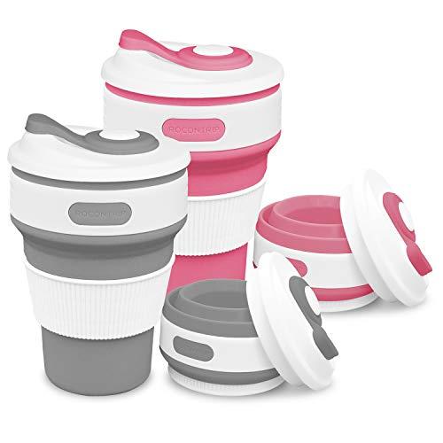 ROCONTRIP Faltbare Tasse, Silikon Becher Kaffee Camping Tasse Reise Geschenk Becher 350ml 100% Lebensmittelqualität Silikon BPA-frei geeignet für Outdoor-Aktivitäten Camping Wandern (Grau + Rosenrot)