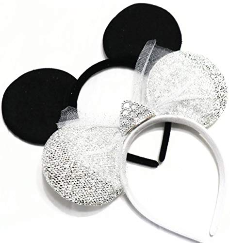 CLGIFT Set of wedding mickey mouse ears headband, bride minnie ears, bride ears, groom and bride ears, black and white wedding, mickey ears, wedding ears