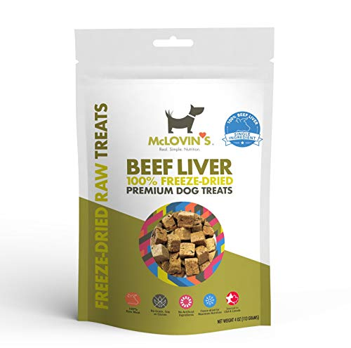 McLovin's Freeze Dried Dog Treats High-Protein, Grain-Free, Premium Quality Meat, All-Natural Treats,Ingredient Sourced from USA,The Perfect High Value Training Reward (Beef Liver, 1 Pack/4 Ounce)
