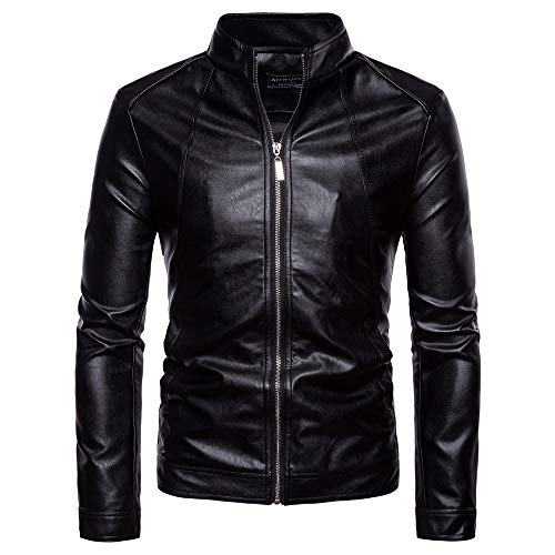 WAMLJ Herren Lederjacke Classic Side Lace Polizei Stil Motorradjacke Slim Coat Plus Size Herren Jacken,Black,XL
