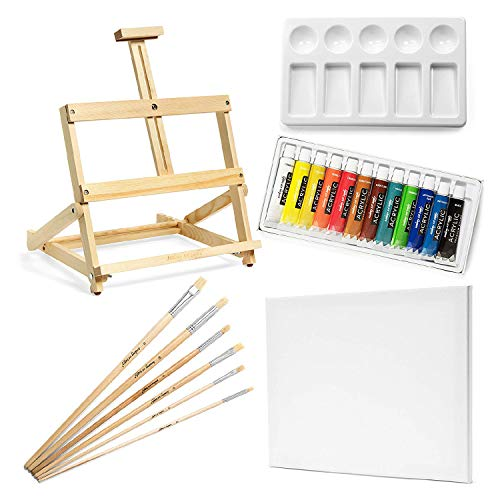 Academy Art Supply 21-Piece Art Set with Acryllic Colors, Canvas, Palette, Brushes, and Table Easel - 21 Pieces