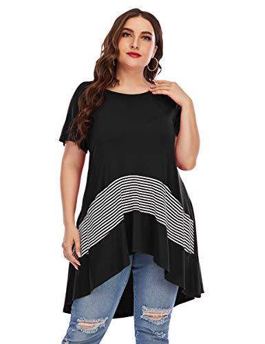 LARACE Women Tops For Leggings Plus Size High Low Tunic With Striped Pockets Short Sleeve Irrgular Hem Loose Blouse(Black L)