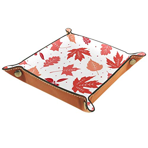 ZDL Caja de almacenamiento con patrón de hojas de otoño rosa para llaves, teléfono, moneda, cartera, relojes, etc. 16 x 16