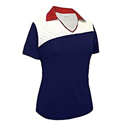 Navy/Red/White Rhinestones Contrast Polo Shirt #2094