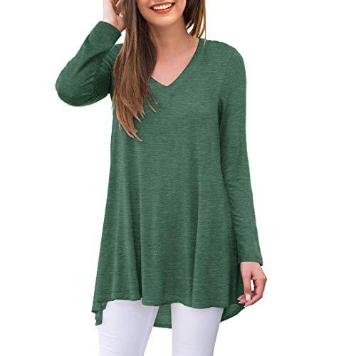 AWULIFFAN Women's Fall Long Sleeve V-Neck T-Shirt Tunic Tops Blouse Shirts (Variegated Green,X-Large)