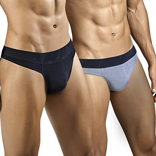ARIUS Pack 2 Tangas Hombre Sexy (1 Negro y 1 Gris) - Tanga Caballero - Tanga Masculino - Tanga Hilo Hombres Sensual - String Hombre - g-String Caballero - Tanga Algodon Hombre