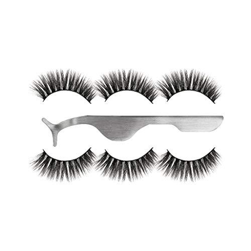 Harpily 3D Falsche Wimpern 3 Paar + Wimpernzange,NatüRliche Partei Luxus Make-Up 3Pair Falsche Wimpern Flauschigen Streifen Wimpern NatüRliche Lange Augen Lash Makeup