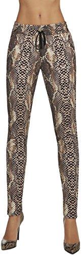 Firstclass Trendstore Schlupfhose im Snake-Look Gr. S-XL, Gummizug Hose Damen Leggings Gummibund Freizeithose Freizeit Schlange (Naya braun S)