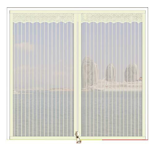 XGXQBS raam met ritssluiting, mesh-gordijn, vliegenbescherming, vliegenbescherming, vliegenbescherming, insectenbescherming 90x120cm(35x47inch) Crème kleur