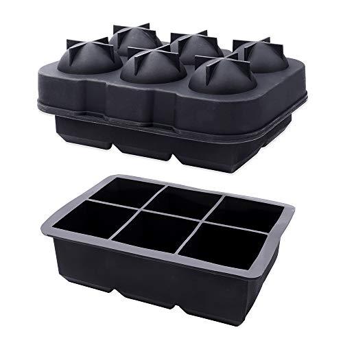 Schramm® 2 stuks ijsblokjesmachine ijsblokjesbol ø 4,5cm en ijsblokje 5cm voedselveilig siliconen BPA-vrij ijsblokje