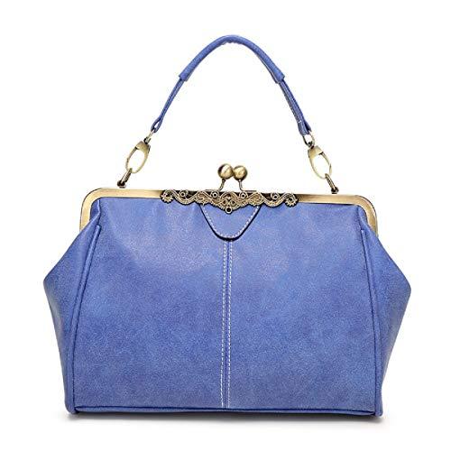 YOUNXSL Bolso Retro de Mujer Monedero de Cuero de PU Bolso de asa Superior Vintage Bolso de Hombro Crossbody Kiss Lock para Damas Azul